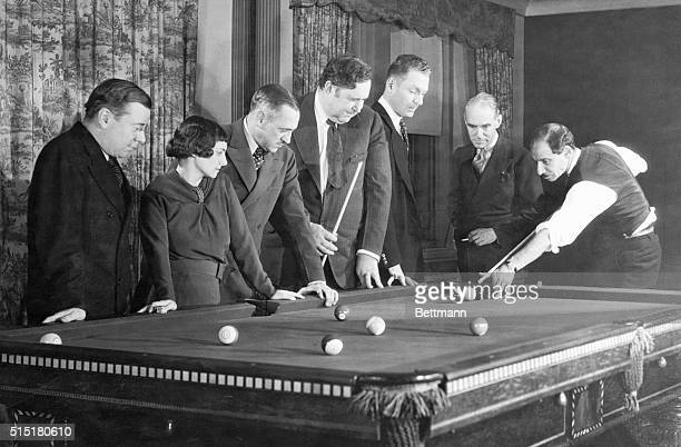 2/28/1935New York NY Proffesional observers and pacesetters are these seven gathered at a pocket billiard table in the Carom Club New York's society...