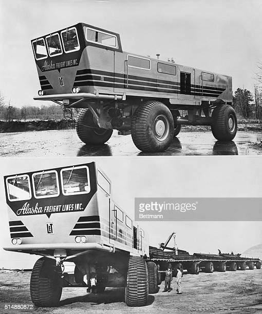 2/28/55Longview Texas Here is a view of the power control car of the LeTourneau Sno freighter the world's longest vehicle on rubber wheels built by G...