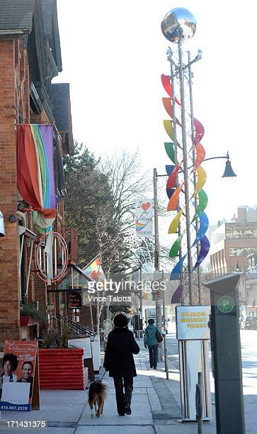 22foot rainbow gateway signposts have been installed at both ends of the village on Church St north of Wellesley on Feb 06 2013