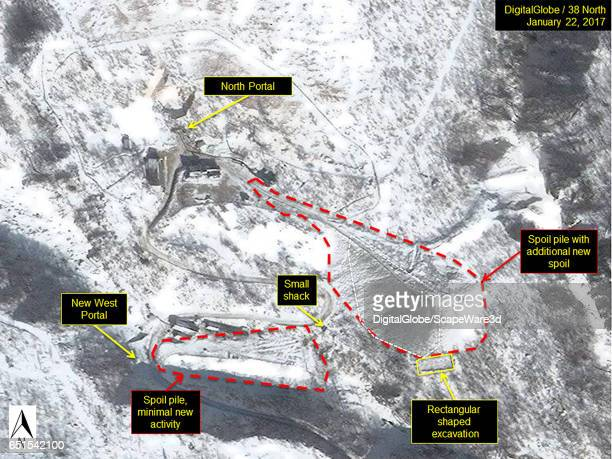 Figure 8 Late January 2017 imagery showing new spoil on top of recent snow