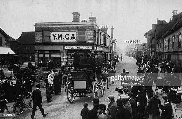 The Vanderbilt coach 'Meteor' drives past the YMCA in Crawley West Sussex on its first voyage to Brighton