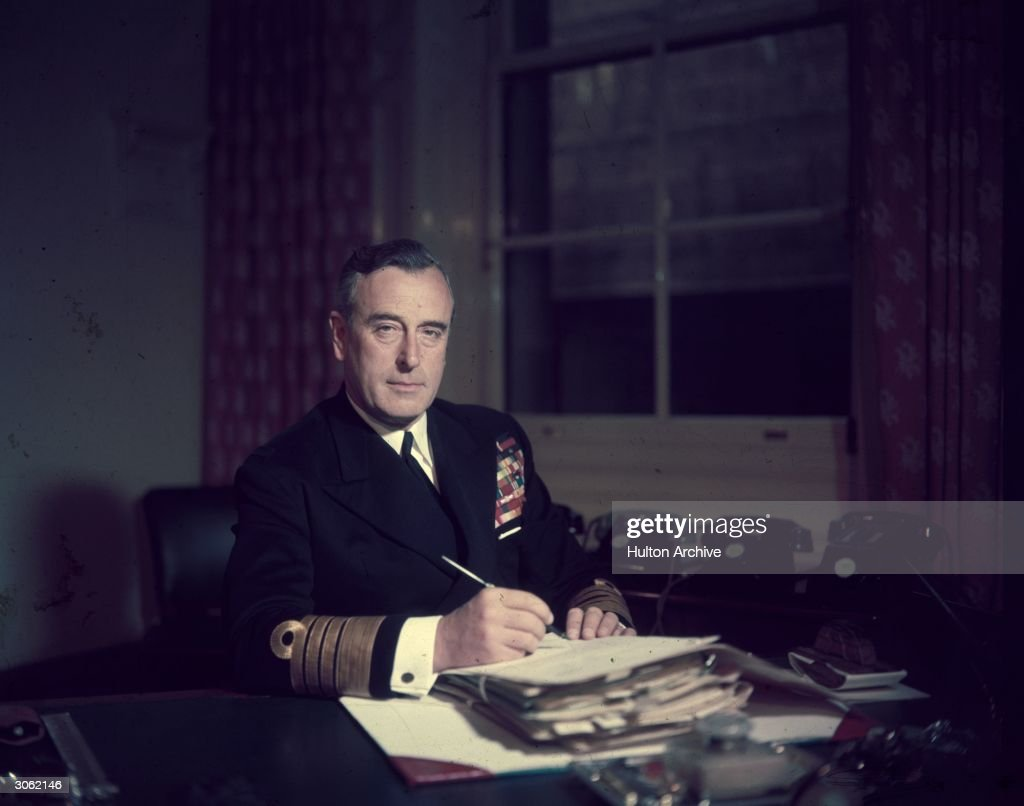 First Sea Lord Louis Mountbatten, Earl Mountbatten, at his office in the Admiralty.