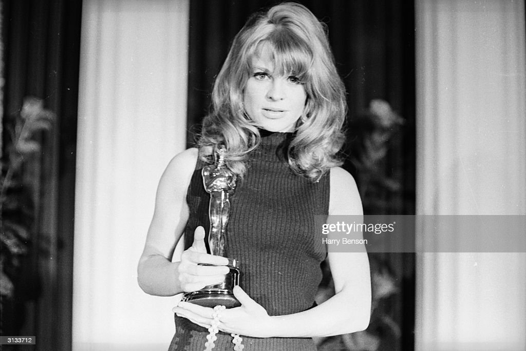 English actress Julie Christie with her Academy Award for Best Actress , which she won for her role in 'Darling'.