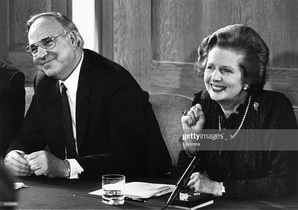 British prime minister Margaret Thatcher and her German counterpart, <a gi-track='captionPersonalityLinkClicked' href=/galleries/search?phrase=Helmut+Kohl&family=editorial&specificpeople=202518 ng-click='$event.stopPropagation()'>Helmut Kohl</a>, at a press conference at Number 12 Downing Street, London.