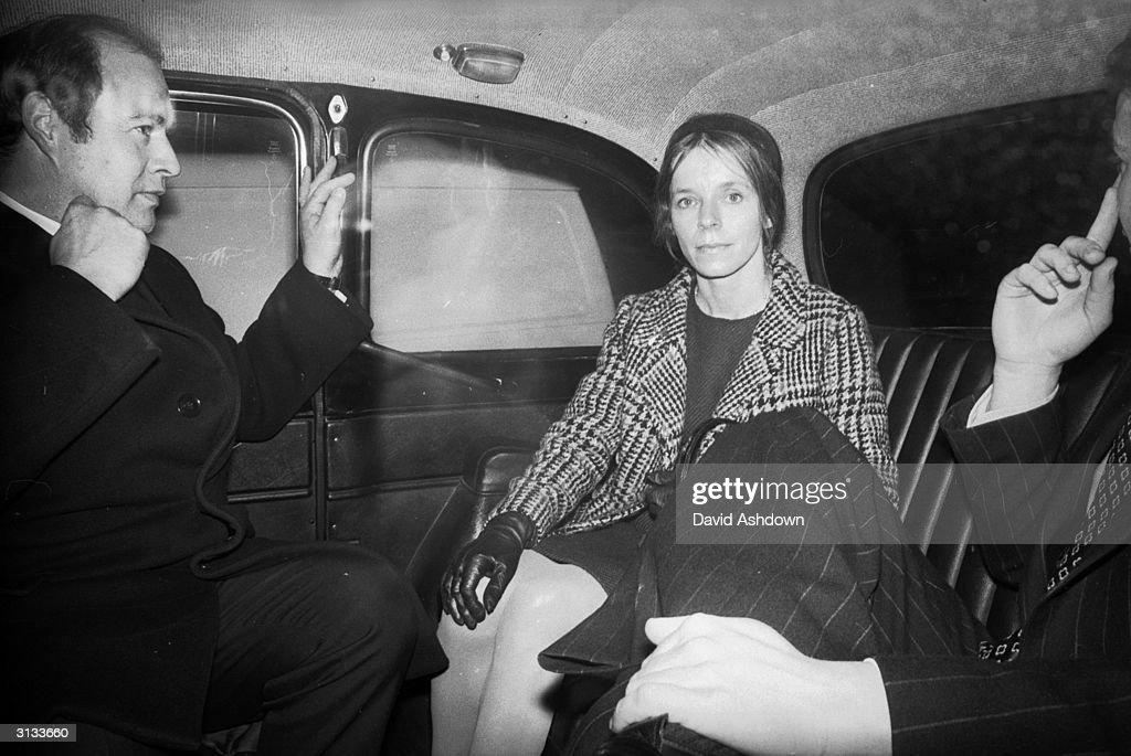 Lady Lucan accompanied by one of her lawyers leaving by taxi after her appearance at the Compensation Board in London. She wants to be compensated by the state for injuries she received during an alleged attack by her missing husband the Earl of Lucan when her nanny was murdered.