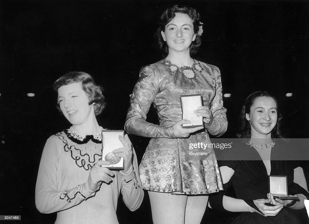 The winners of the Women's Figure Skating Competition in the Winter Olympics at Oslo. British skater Jeanette Altwegg (centre) won the gold medal, Tracy Albright, left, won the silver for USA and Jacqueline du Bief won bronze for France.