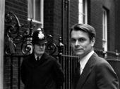 Welsh Labour politician David Owen arriving at Number Ten Downing Street after becoming Foreign Secretary following the death of Anthony Crosland