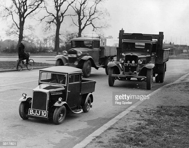 The newly built one horsepower Rytecraft lorry believed to be the smallest motor lorry in the world on the North Circular Road with other traffic