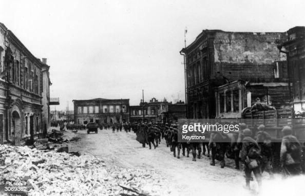Red Army reinforcements arrive in Stalingrad during World War II to recapture the city from the German 6th Army