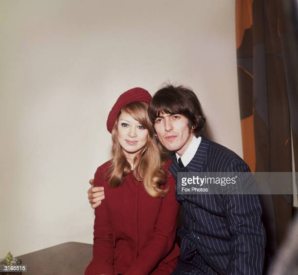 George Harrison singer songwriter and guitarist with The Beatles pictured with his wife model Patti Boyd