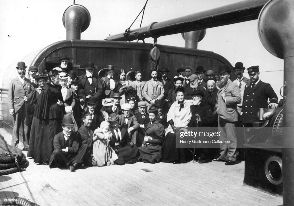 Passengers and crew on board the immigrant ship SS Gallia, near Queenstown on the coast of Ireland.