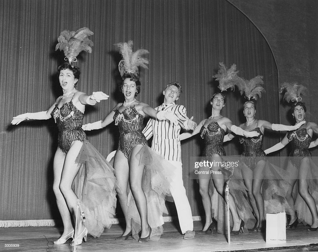 Pat Burke, Thelma Ruby, Tommy Steele, Virginia Maskell (1936-1968), Sylvia Syms and Miriam Karlin rehearsing for the, 'Night of 100 stars' a charity event at the London Palladium.