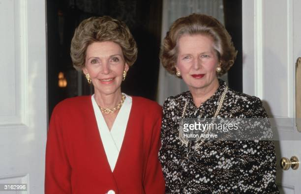 Nancy Reagan the wife of US president Ronald Reagan meets British prime minister Margaret Thatcher at Number 10 Downing Street during a visit to...