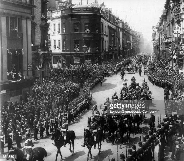 Indian Officers known as 'Foreign Princes' riding in a procession to celebrate Queen Victoria's Diamond Jubilee The procession is winding its along a...
