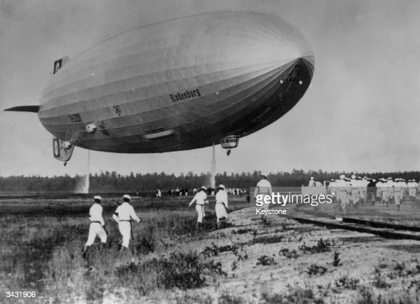 The illfated Hindenburg airship at Lakehurst New Jersey after a flight from Frankfurt