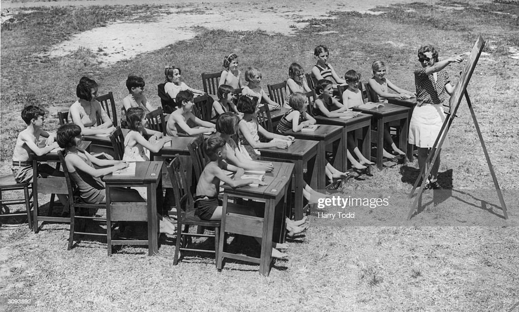 Pupils of the newly-opened Hazelbury Open Air School, Edmonton, attending a open air class wearing bathing costumes.
