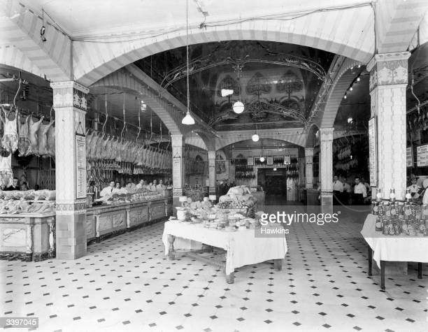 Goods for sale in the meat and poultry department of Harrod's department store in London