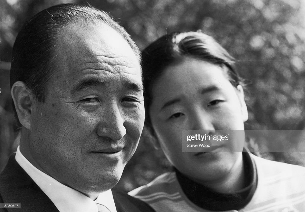Sun Myung Moon and his wife Hakja during his visit to Britain where his sect has 300 members. Mr Moon refers to himself as 'President of the Holy Spirit Association for the Unification of World Christianity' and specialises in mass wedding ceremonies.