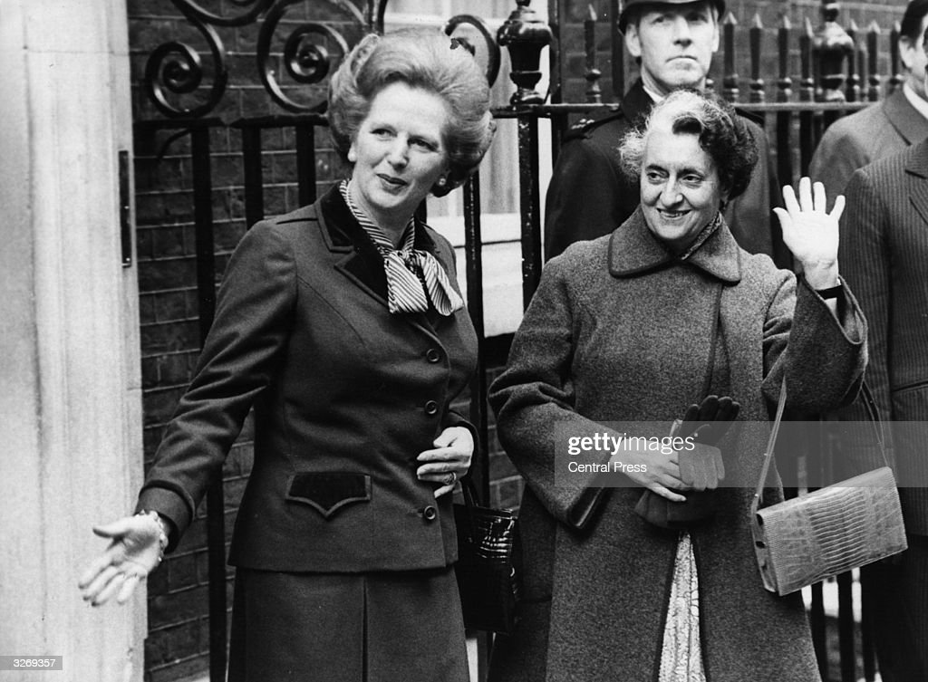 British Conservative Prime Minister Margaret Thatcher with Indian premier Indira Gandhi outside 10 Downing Street