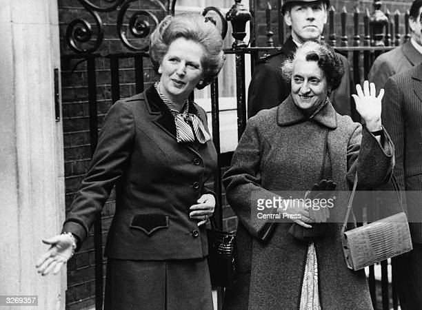 British Conservative Prime Minister Margaret Thatcher with Indian premier Indira Gandhi outside 10 Downing Street