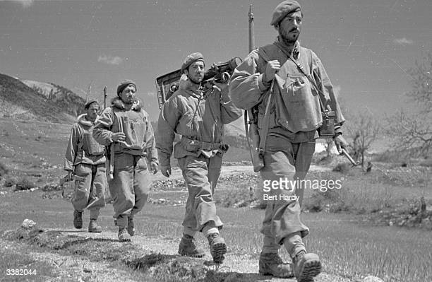 A band of Greek army commandos on the move during the Greek Civil War Original Publication Picture Post 4551 The War For Greece pub 1948