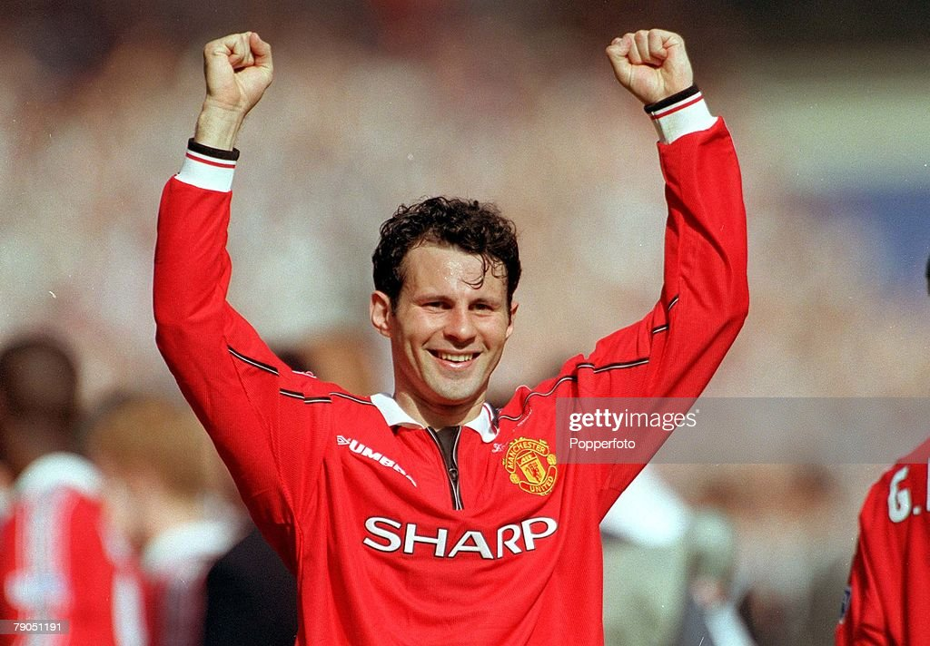 22nd MAY 1999. F.A.Cup Final. Wembley. Manchester United 2 v Newcastle United 0. Manchester United's Ryan Giggs celebrates the victory. : News Photo