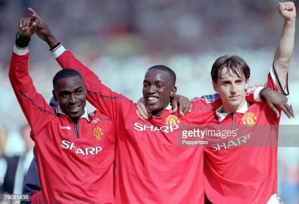 22nd MAY 1999 FA Cup Final Wembley Manchester United 2 v Newcastle United 0 Manchester United's lr Andy Cole Dwight Yorke and Gary Neville celebrate...
