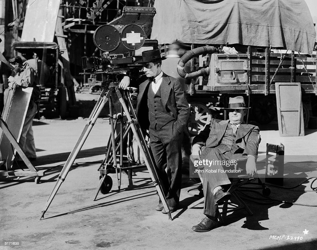 American silent screen comedian and actor Buster Keaton (1895-1966) with director Edward Sedgwick (1892 - 1953).