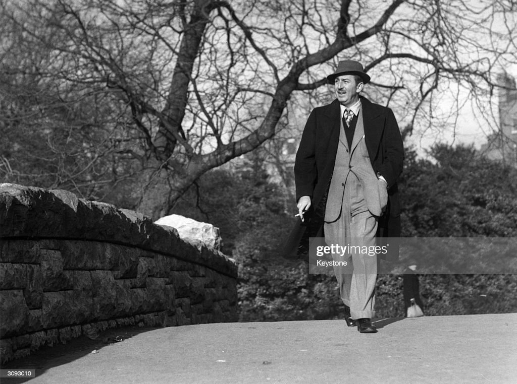 American animator and producer Walt Disney walking through St Stephens Green Dublin in the Republic of Ireland