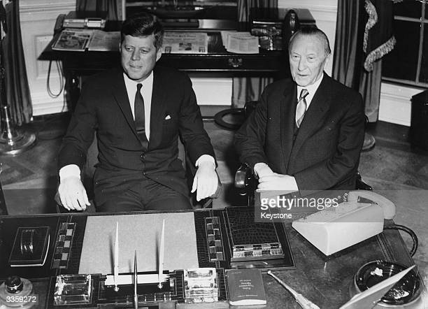 German federal chancellor Konrad Adenauer with American president John F Kennedy during a meeting concerning international affairs at the White House