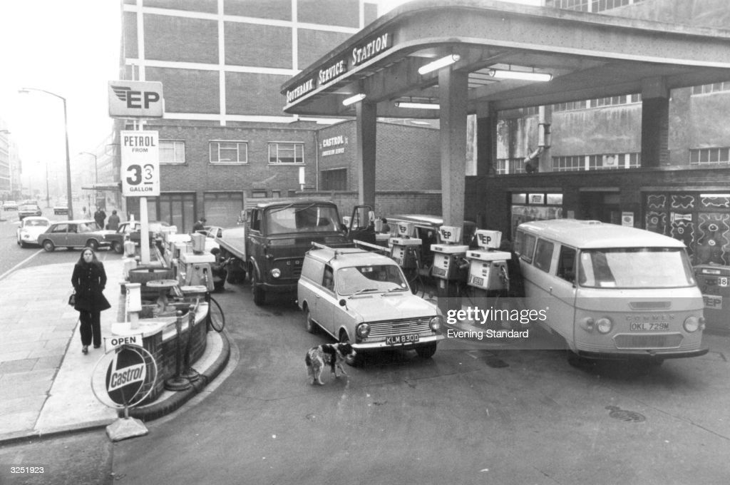 Motorists queuing to get their fill of petrol during the petrol crisis of 1973.