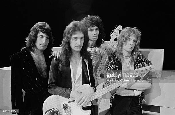 Freddie Mercury John Deacon Brian May and Roger Taylor from Queen posed on the set of the Dutch TV show TopPop on 22nd November 1974