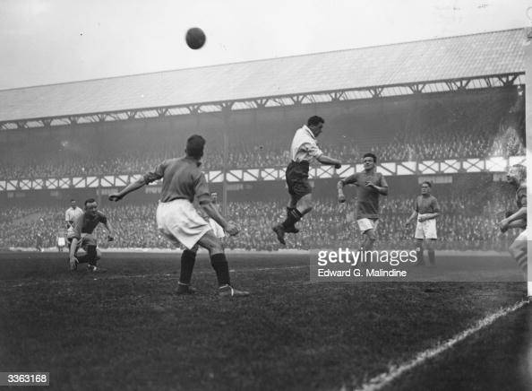 Dixie Dean in action during an international match between England and Ireland at Goodison Park Liverpool