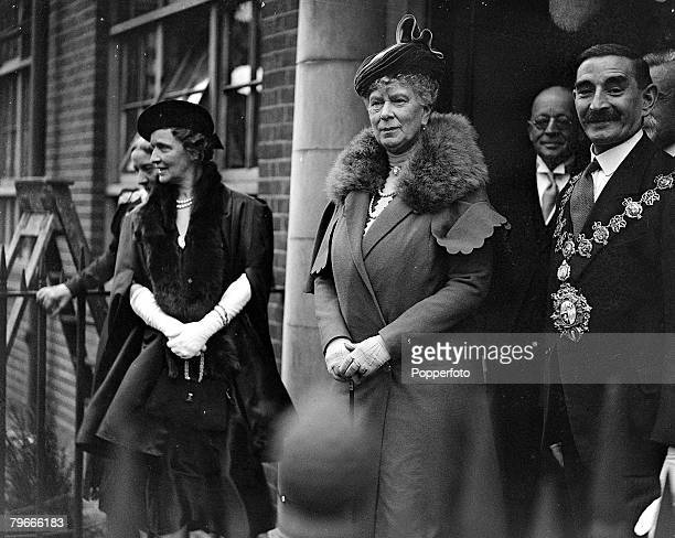 22nd October 1937 London England Queen Mary is pictured at Deptford where she opened the Rachel MacMillan Training College