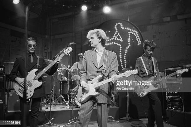 Japan record for the BBC TV show The Old Grey Whistle Test at Riverside Studios in London ion 22nd October 1982 Left to Right Mick Karn Steve Jansen...