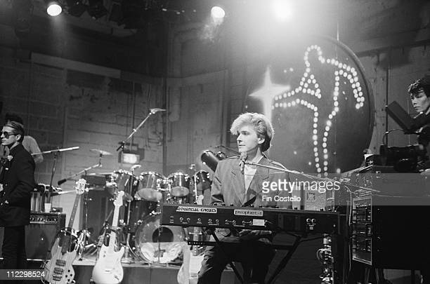 Japan record for the BBC TV show The Old Grey Whistle Test at Riverside Studios in London on 22nd October 1982 Left to Right Mick Karn David Sylvian...
