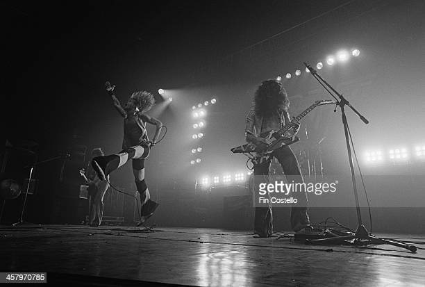 David Lee Roth and Eddie Van Halen from American rock group Van Halen perform live on stage at the Rainbow Theatre in Finsbury Park London on 22nd...