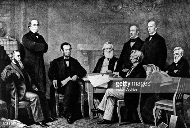 Abraham Lincoln the 16th President of the United States of America at the signing of the Emancipation Proclamation which gave slaves their freedom