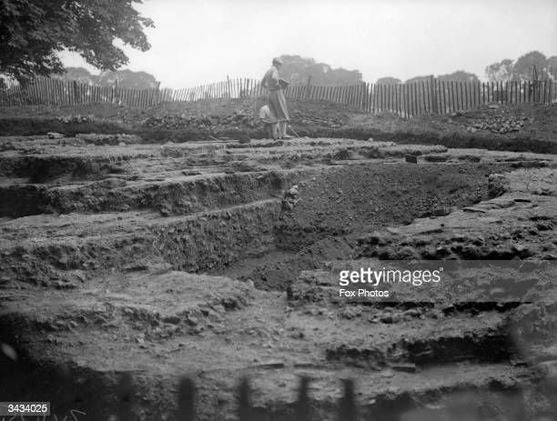 Excavation work on the Verulamium site St Albans one of the first British cities the Romans established after their invasion of Britain in AD 43