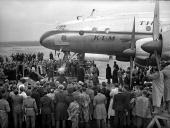 General Urquhart launching a new Constellation aircraft the 'City of Arnhem' at Schipol airport in the Netherlands