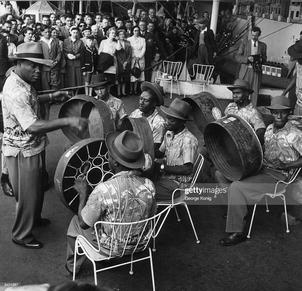 The Trinidad All Steel Percussion Orchestra give their first public performance at the South Bank Exhibition under the guidance of their manager...