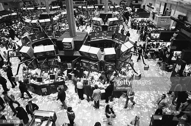 The floor of the New York Stock Exchange shows the day's excitement right after the market was closed 2/3 The stock market was sharply higher late in...