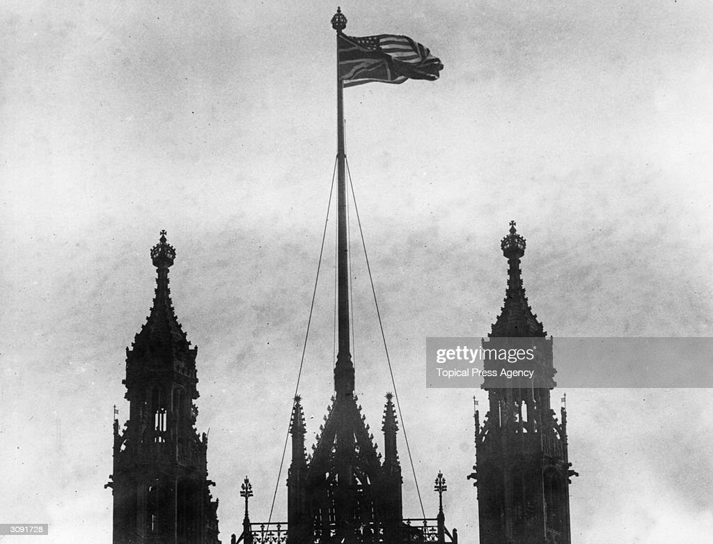 The American flag flying from Victoria Tower over the Houses of Parliament after the United States entered World War I.