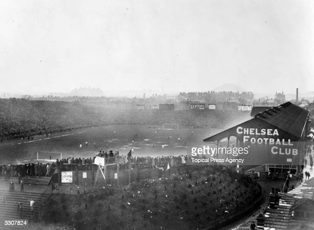 The FA Cup Final in progress between Tottenham Hotspur and Wolverhampton Wanderers at Chelsea's Stamford Bridge ground Spurs won 10