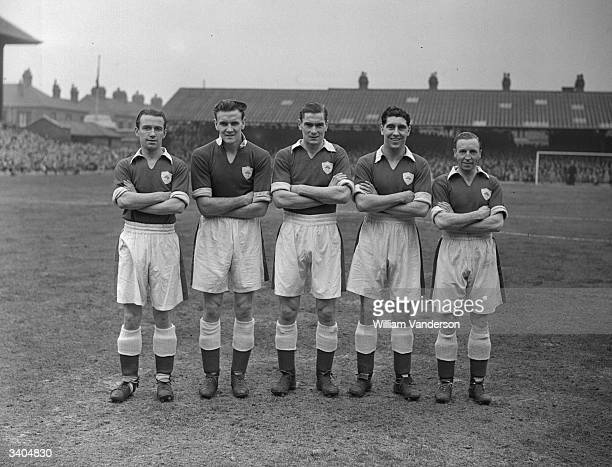 Leicester City Football Club's famous forward line which has brought them to the cup final at Wembley From left to right are Griffiths Don Revie Lee...