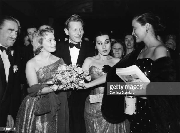 Mai Zetterling Danny Kaye Yma Sumac and Julie Wilson at the premiere of 'Knock on Wood'
