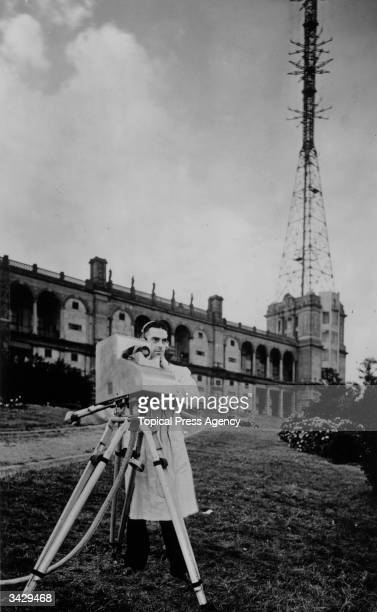 D G Birkinshaw operating the MarconiEMI instantaneous TV camera transmitting the view from Alexandra Palace the BBC's first high definition TV...