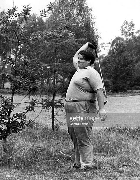 Ray Nicholas of Sudbury letting off steam in the rough during the British Boys Golf Championship at Blairgowrie in Perthshire