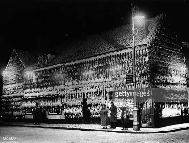 A poulterer's in High Wycombe with an elaborate Christmas display