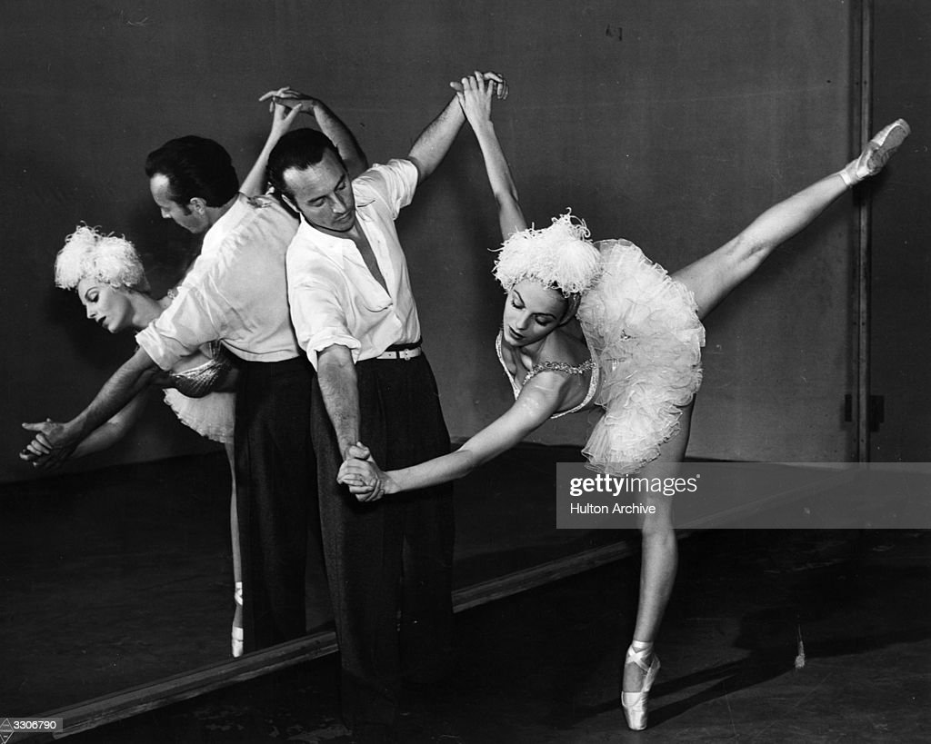 Vera Zorina, the stage name of Eva Hartwig, the ballet dancer and actress, rehearsing with her husband George Balanchine for the Warner Brothers musical production of 'On Your Toes'.